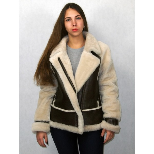 Дубленка-куртка женская коричневая с белым мехом модель 0014
