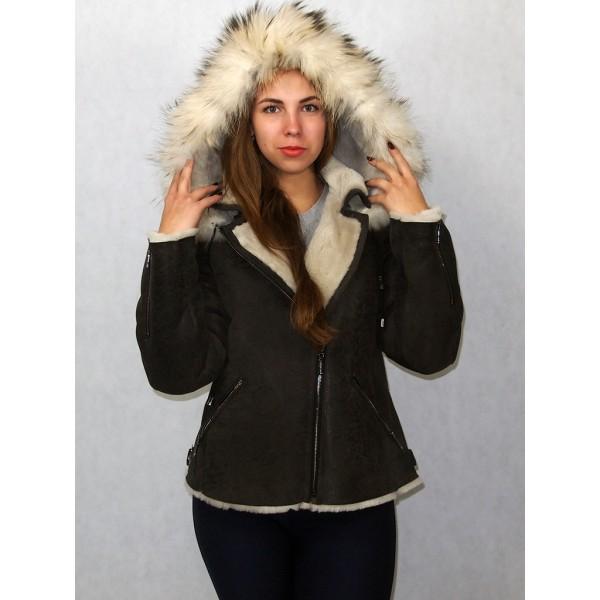 Дубленка-куртка женская цвет мокрый асфальт с белым мехом, плюс обесцвеченный енот. Модель КВ-02