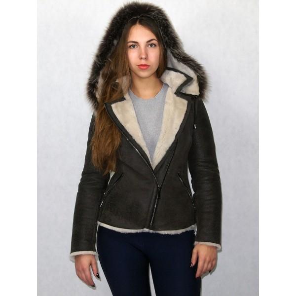 Дубленка-куртка цвет мокрый асфальт, белый мех плюс мех тоскана. Модель КВ-02