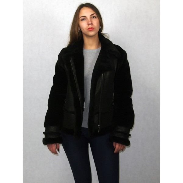 Дубленка куртка женская черная с черным мехом лазерное покрытие модель 0014