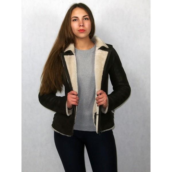 Дубленка куртка женская коричневая с белым мехом модель 02