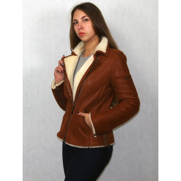 Дубленка-куртка женская виски с белым мехом модель 02