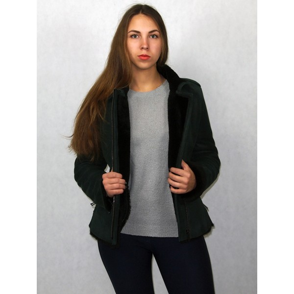 Дубленка-куртка зеленая с черным мехом модель 02