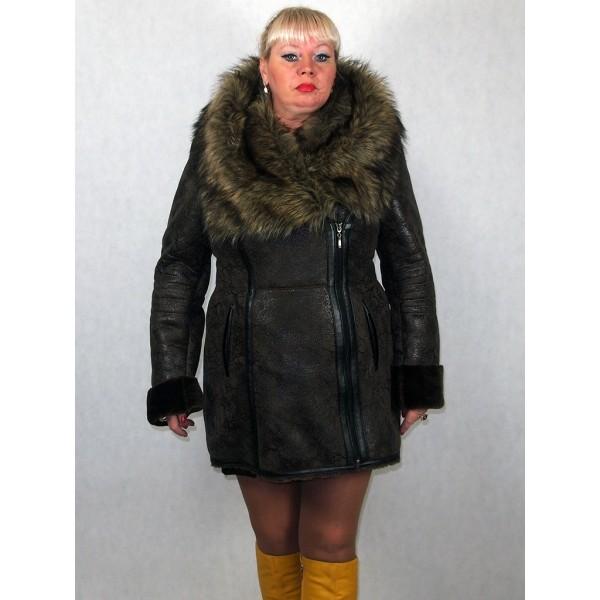 Искусственная дубленка женская, из эко-кожи мех искусственный волк модель 0010