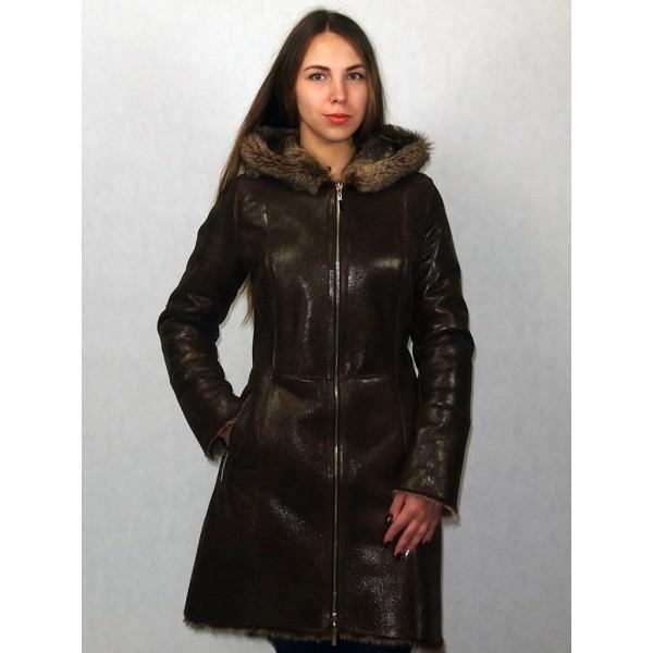 Дубленка-парка женская коричневая с лазерным покрытием, мех тоскана под волка модель №1