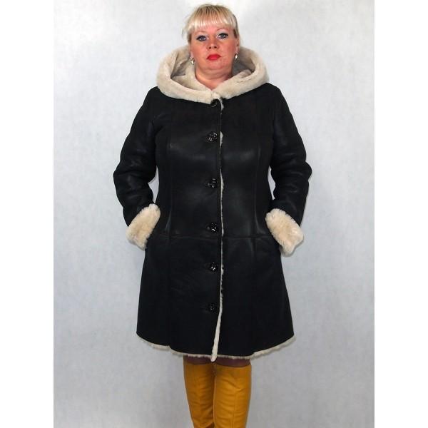 Дубленка женская серый айс с белым мехом, обливная модель 03/2