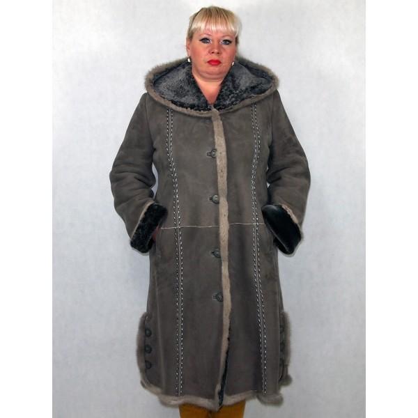 Дубленка женская серая замшевая с серым мехом плюс норка модель 08