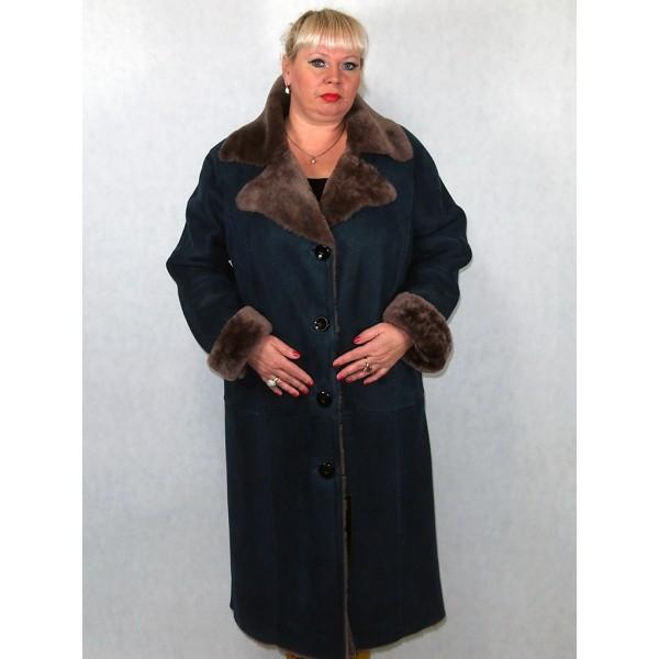 Дубленка женская синяя с серым мехом модель 1004