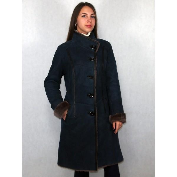 Дубленка женская синяя с серым мехом, модель 1006