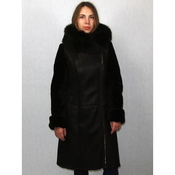 Дубленка женская темно-коричневая с черным мехом, лазерное покрытие модель 1341