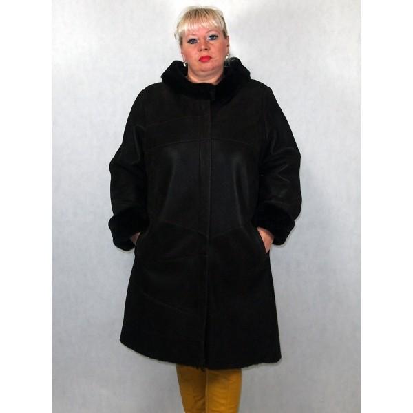 Дубленка женская темно-коричневый айс с темно-коричневым мехом модель 1340