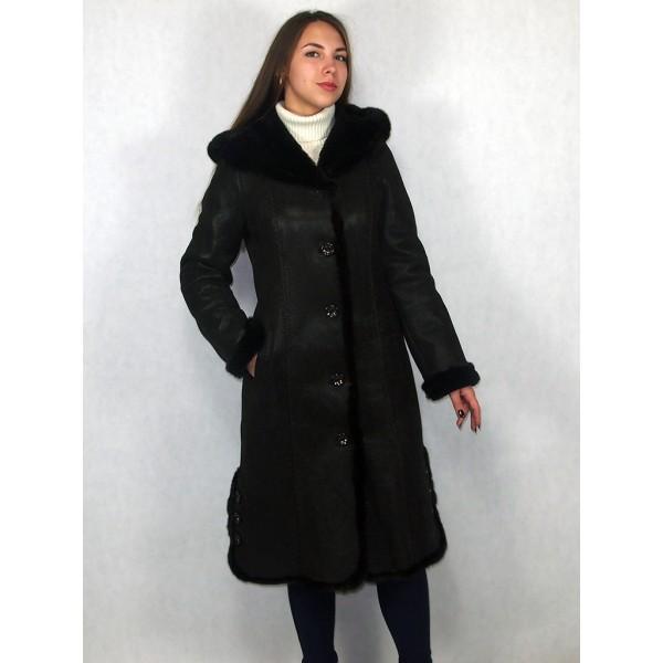 Дубленка женская темно-коричневая с темно-коричневым мехом, опушка норка, модель 08