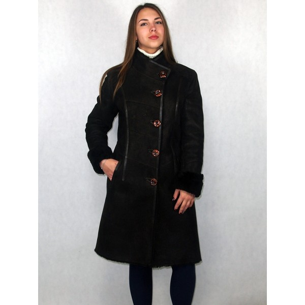 Дубленка женская темно-коричневая с темно-коричневым мехом, с коричневой кожей, лазерное покрытие, модель 1006