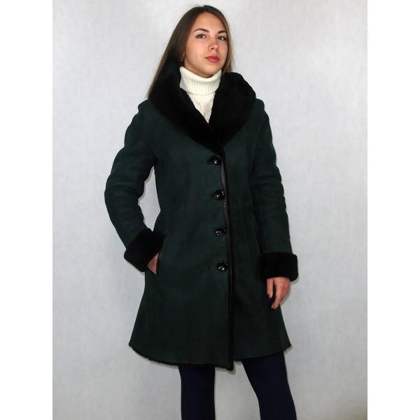 Дубленка женская зеленая с черным мехом модель 1003