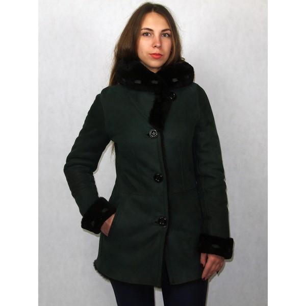 Дубленка женская зеленая с черным мехом модель 1002