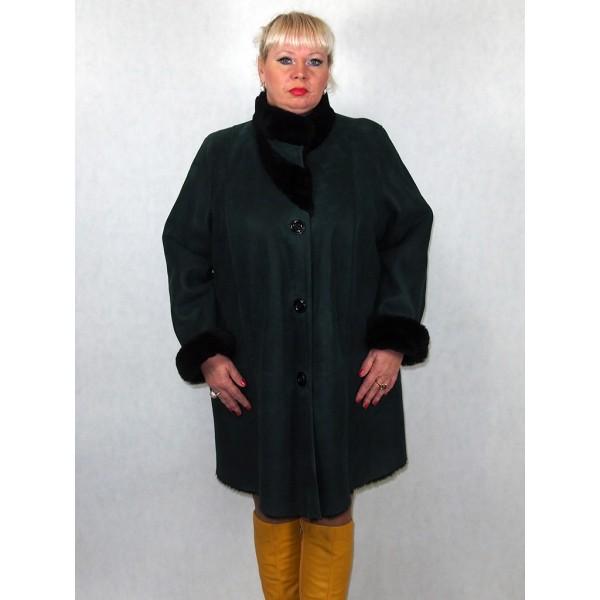 Дубленка женская зеленая с черным мехом модель 1005