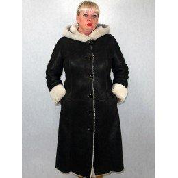 Дубленка женская коричневая с белым мехом