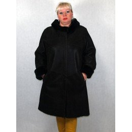 Дубленка женская темно-коричневый айс с темно-коричневым мехом