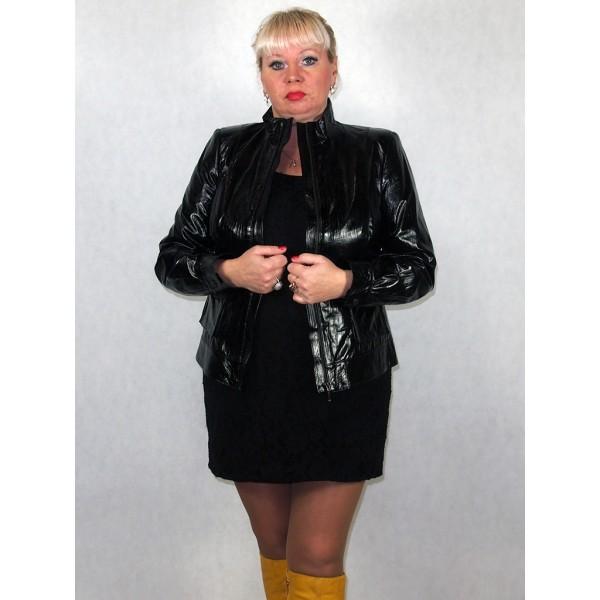 Куртка женская черная лаковая из натуральной лаковой кожи модель G1019