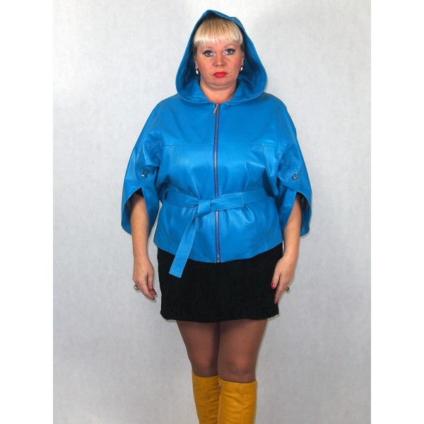 Куртка женская  (летучая мышь), голубая, натуральная кожа модель 3004