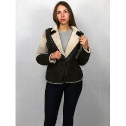 Куртка женская коричневая с белым мехом