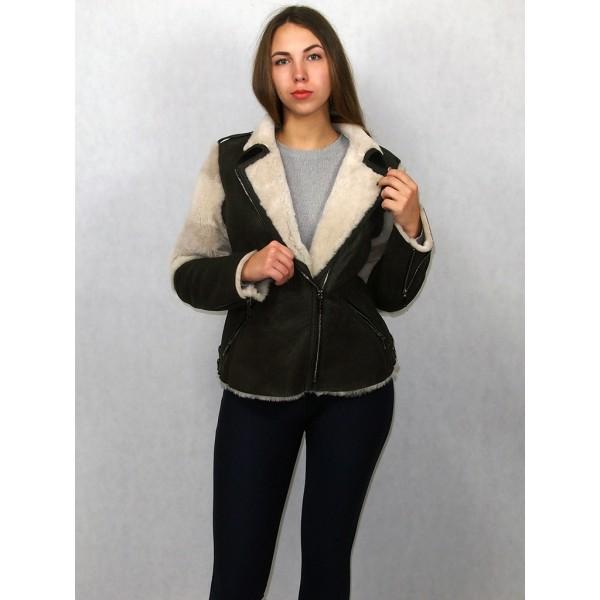 Куртка женская коричневая с белым мехом натуральная овчина модель КВ-02