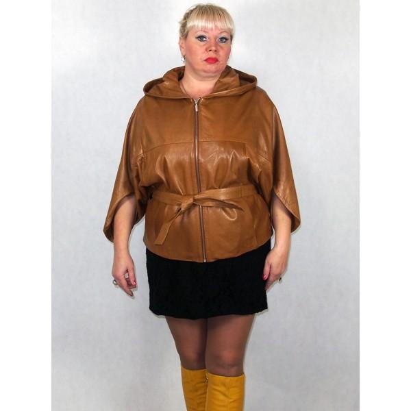 Куртка женская коричневая, (летучая мышь), из натуральной кожи модель 3004