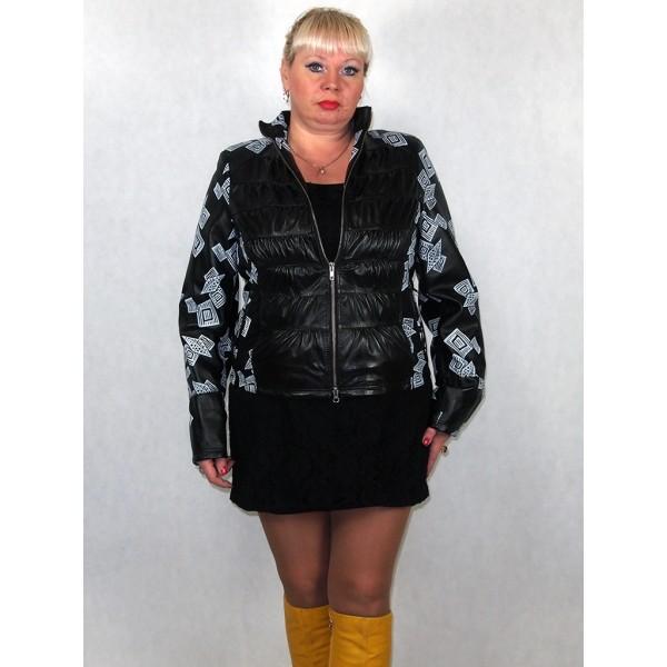 Куртка женская кожаная черная разноцветная модель 3008
