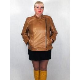 Куртка женская кожаная коричневая