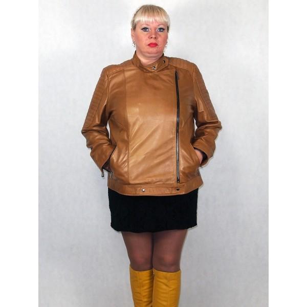 Куртка женская кожаная коричневая модель 3006