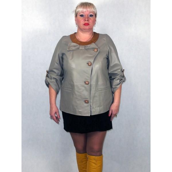 Куртка женская серая кожаная с коричневыми кожаными вставками, из натуральной кожи модель 3005