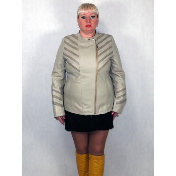 Куртка женская кожаная цвет светло-серый и темно-серый на двойной молнии модель 3007